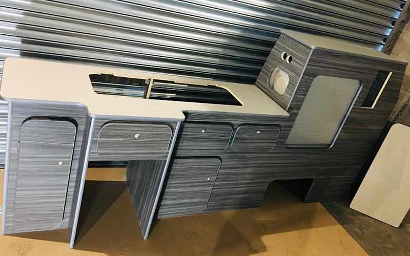 VW Transporter LWB campervan kitchen units