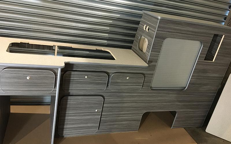 VW Transporter SWB campervan kitchen units